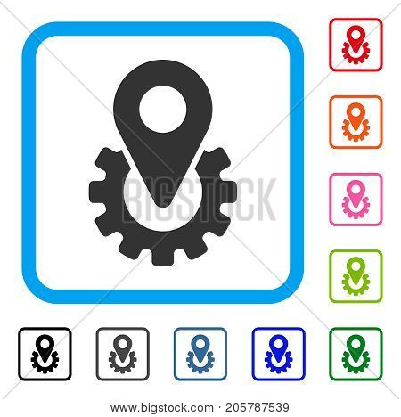 Industry Gear Location Marker icon. Flat grey pictogram symbol in a light blue rounded frame. Black, gray, green, blue, red, orange color variants of Industry Gear Location Marker vector.