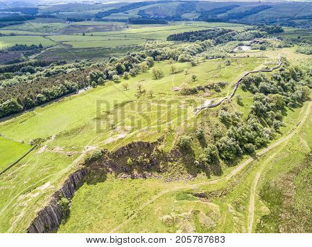 The Walltown Crags at World heritage site Hadrian's Wall in the beautiful Northumberland National Park with Hadrian's Wall Path and Pennine Way