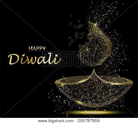 Happy Diwali greeting card. Deepavali light and fire festival. Gold colors polygonal art on black background. Beautiful vector illustration.