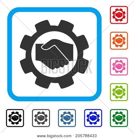 Smart Contract Setup Gear icon. Flat grey pictogram symbol in a light blue rounded square. Black, gray, green, blue, red, orange color variants of Smart Contract Setup Gear vector.