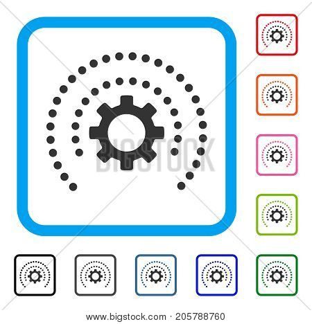Sphere Shield Options Gear icon. Flat grey pictogram symbol in a light blue rounded squared frame. Black, gray, green, blue, red, orange color additional versions of Sphere Shield Options Gear vector.
