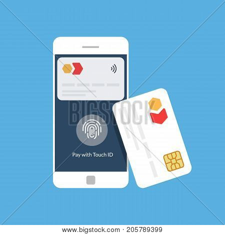 Bank card and mobile payment. Near Field Communication. NFC. Flat vector illustration.