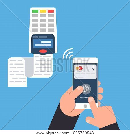 Process of payment in a non-contact way using a mobile phone. NFC. Flat vector illustration