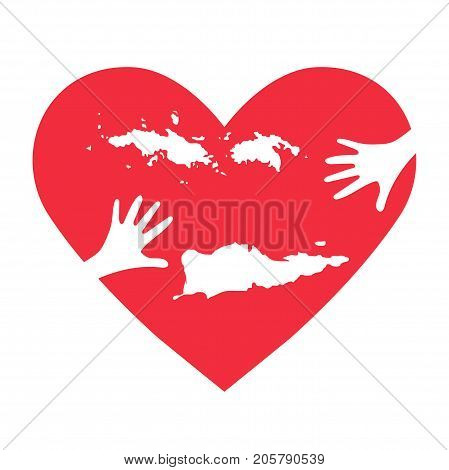 Vector Illustration: helping hands heart United States Virgin Islands known as USVI map. Support for charity or relief work after Hurricane Maria floods landfalls in U.S. Virgin Islands.