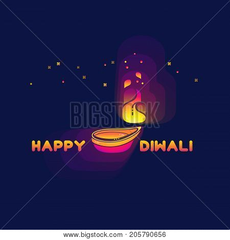 Happy Diwali. Diwali lamp isolated on dark violet background. Abstract Indian oil lamp for your greeting card design. The festival of lights. Vector illustration.
