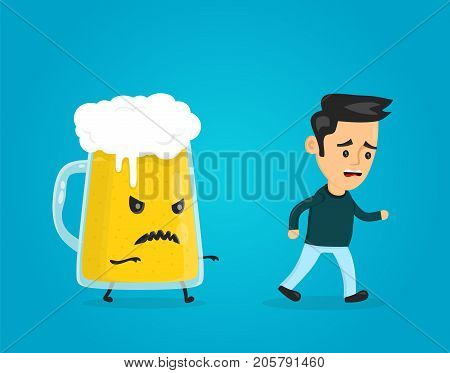 Angry evil glass of beer chasing a man. vector flat style fun cartoon character modern illustration design. alcohol addiction concept