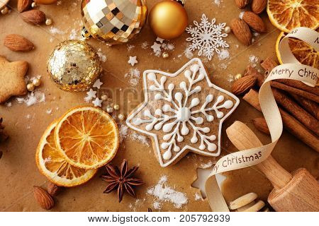 christmas gingerbread and baking ingredients