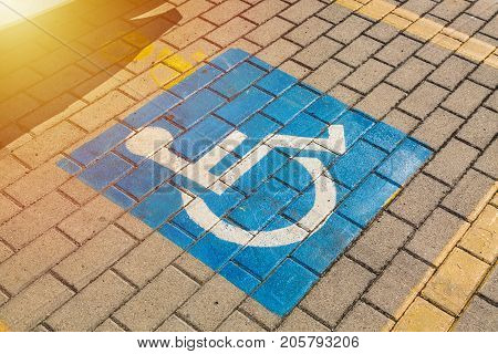 Sign for disabled on parking on the road