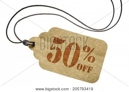 fifty  percent off discount  - a paper price tag with twine isolated on white
