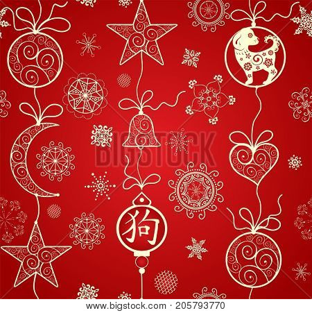 Seamless red wallpaper with decorative lacy pattern, hieroglyph and puppy for Chinese New year