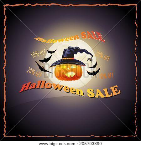 Halloween Sale poster. Vector background with full Moon, pumpkin, hat, bat and words Halloween Sale.