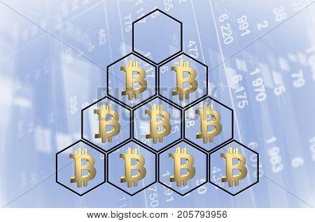 Pyramid with bitcoin symbols. Ponzi scheme concept. 3D rendering.