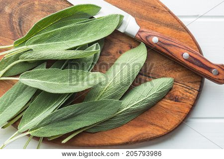 Salvia officinalis. Sage leaves on wooden cutting board.