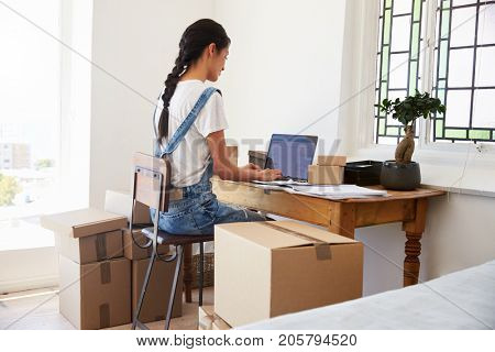 Rear View Of Woman Running Business From Home Dispatching Goods