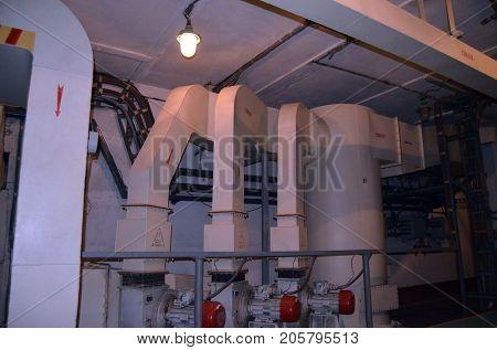 Ventilation system. Bunker for launch SS-18 Satan team. Museum of Soviet Strategic Nuclear Forces. POBUGSKOE, UKRAINE - September 2, 2017