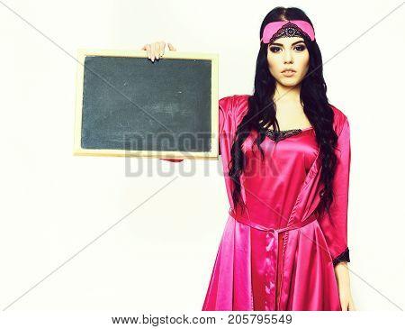 Sexy Girl In Silk Robe Holding Black Board