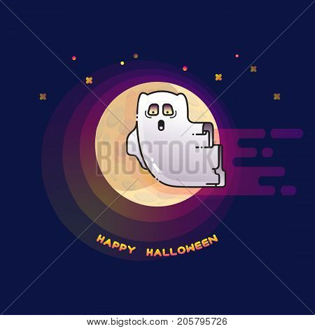 Happy Halloween card with funny flying ghost spirit and full Moon. Cute cartoon ghost on dark background. Vector illustration.