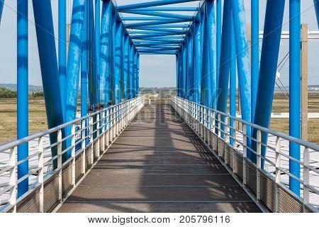 Footbridge over toll booth near Pont de Normandie in France