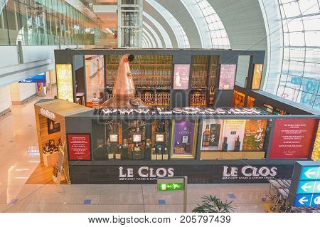 DUBAI, UAE - CIRCA NOVEMBER, 2015: Le Clos store at Dubai International Airport. Le Clos offers a diverse range of fine wines and luxury spirits