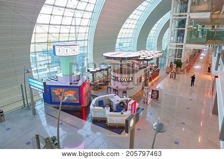 DUBAI, UAE - CIRCA NOVEMBER, 2015: Costa Coffee at Dubai International Airport. Costa Coffee is a British multinational coffeehouse company