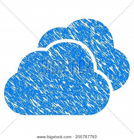 Grunge Clouds icon with grunge design and dirty texture. Unclean vector blue clouds pictogram for rubber seal stamp imitations and watermarks. Draft sign symbol.