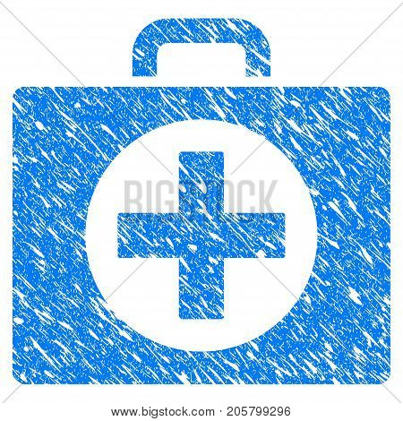 Grunge First Aid icon with grunge design and unclean texture. Unclean vector blue first aid pictogram for rubber seal stamp imitations and watermarks. Draft emblem symbol.