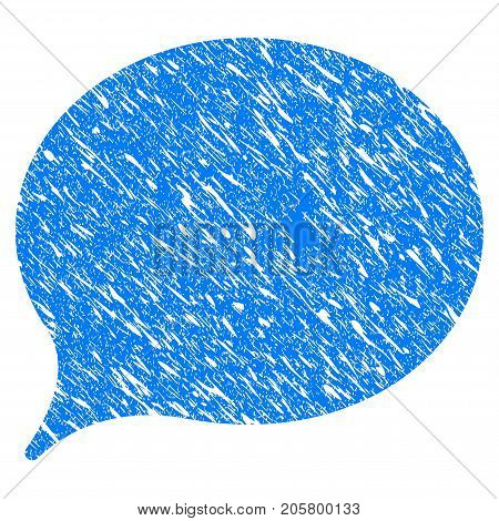 Grunge Hint Balloon icon with grunge design and scratched texture. Unclean vector blue hint balloon pictogram for rubber seal stamp imitations and watermarks. Draft emblem symbol.