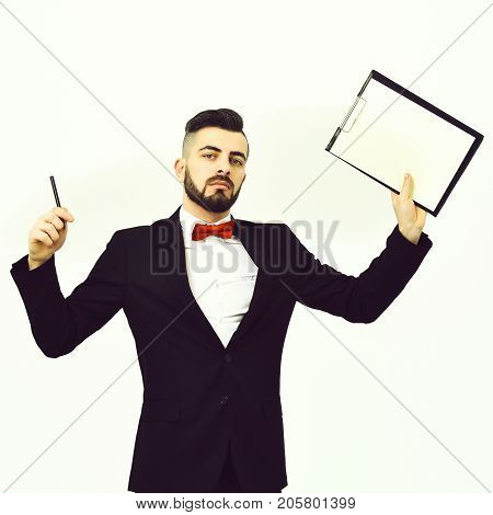 Businessman Or Employer Holds Black Organizer And Pen