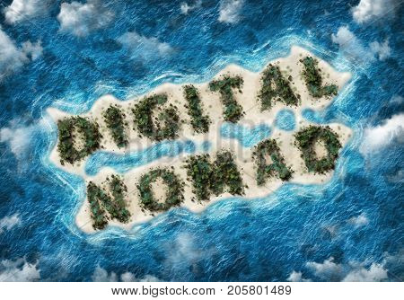 An aerial view of the words digital nomad written in lush palm trees on a remote, tropical sandy island surrounded by blue ocean and clouds. 3d Rendering