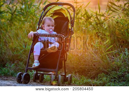 Baby girl sits in modern stroller on a walk in a park. Child in buggy. Little kid in a pushchair. Traveling with young kids. Transportation for family with infant.