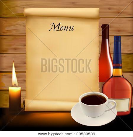 Restaurant menu design. Raster version of vector.
