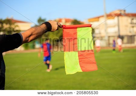 Soccer (football) referee assistant with flag on the green field