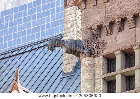 One of the many gargoyles on the Old City Hall in Toronto