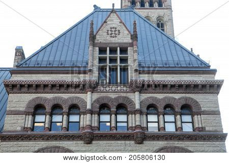 The facade on the Old City Hall in Toronto Canada