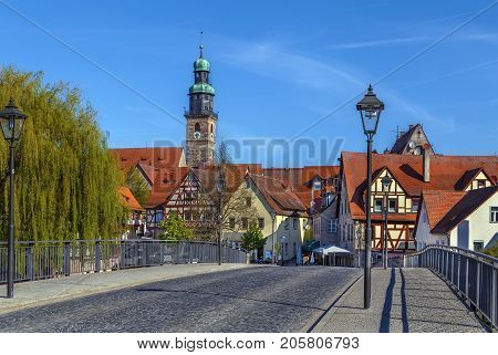 View of Lauf an der Pegnitz from bridge Germany