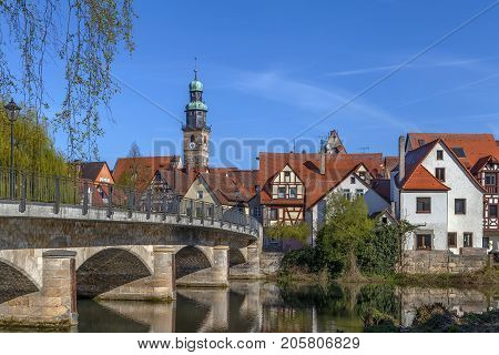 View of Lauf an der Pegnitz from Pegnitz river Germany