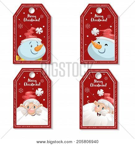 Set of cartoon red Christmas tag or label with laughing and smiling Santa Claus and snowmen. Xmas gift tag invitation banner sale or discount poster.
