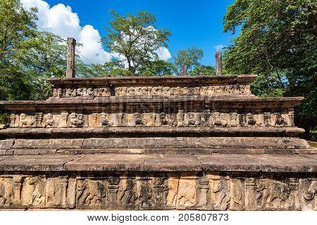Ruins of Royal Court of king Parakramabahu or Raja Sabha Mandapaya of King Parakramabahu in Polonnaruwa, Sri Lanka