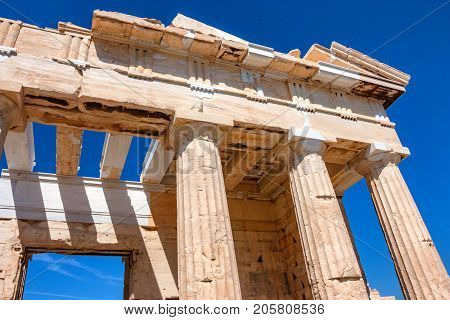 Ruins of ancient temple of Parthenon on Acropolis, popular tourist attraction. Athens, Greece