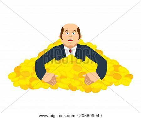 Businessman And Pile Of Gold. Lucky And Lot Of Money. Vector Illustration
