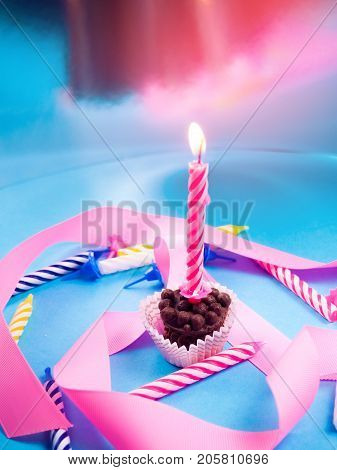 One Single Candle On A Birthday, Holiday, Blow Out Candle, The Smoke From The Candles. Pink Tone, Co