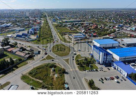 Tyumen Russia - September 2 2017: Aerial view onto Scherbakova and Veteranov Truda streets intersection