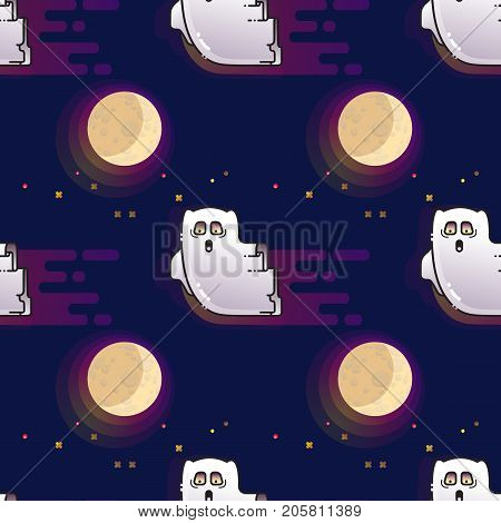 Ghost seamless pattern. Cute cartoon fluing ghost and Moon isolated on dark background.