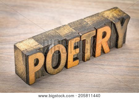 poetry word abstract- text in vintage  letterpress wood type printing blocks against grained wood