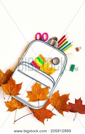Creative School Bag Made Of Paper With School Stationery. Close Up.