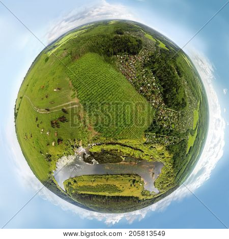 Earth with forest, river, horses, cottage settlement at summer day, collage