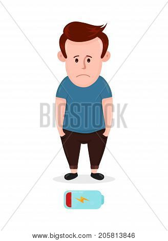 Tired sad young man with low energy level. Vector flat modern style illustration character icon design. Isolated on white background. Battery icon