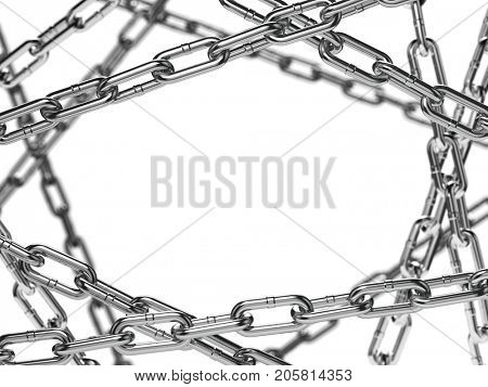 Chain stainless steel isolated on white background Space for text. 3d illustration