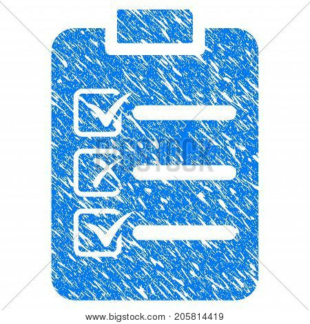 Grunge Check List icon with grunge design and dust texture. Unclean vector blue Check List pictogram for rubber seal stamp imitations and watermarks. Draft emblem symbol.