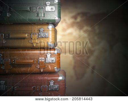 Vintage suitcases on the map background.Turism travel concept. 3d illustration